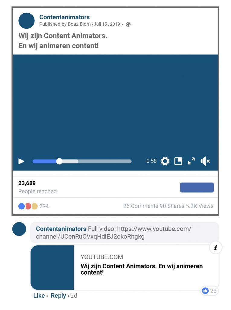 Link via een reactie door naar YouTube op social media. Je wilt meer views op YouTube, niet op andere kanalen.